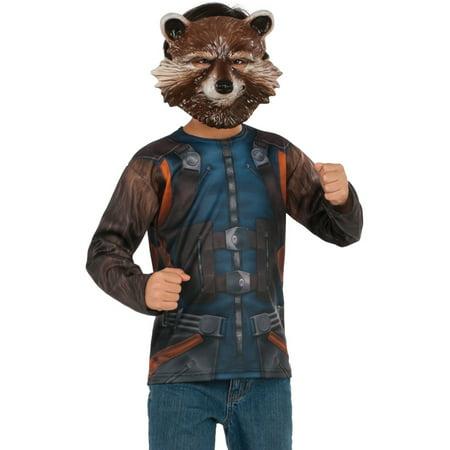 Mens Guardians Of The Galaxy Vol. 2 Rocket Raccoon Shirt And Mask Costume (Raccoon Mask)
