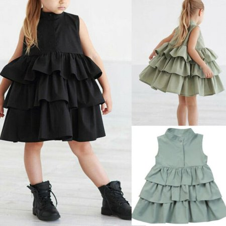 Newborn Kid Baby Girls Party Dress Sleeveless O Neck Cake Ruffled Tutu Bubble Dresses Summer 1-6T Children Girl Clothes](Black Tutu Party City)