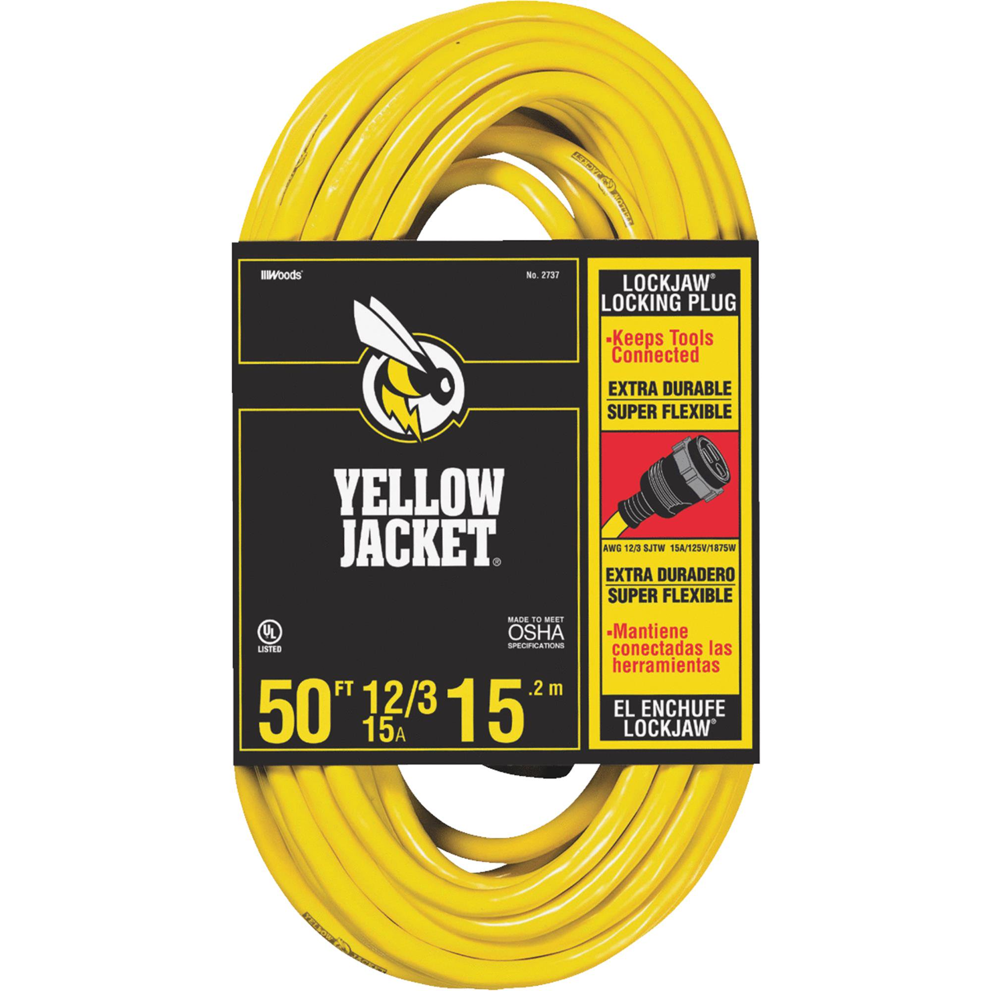 Yellow Jacket 2737 12/3 Heavy-Duty 15-Amp SJTW Contractor Extension Cord, Locking, 50'