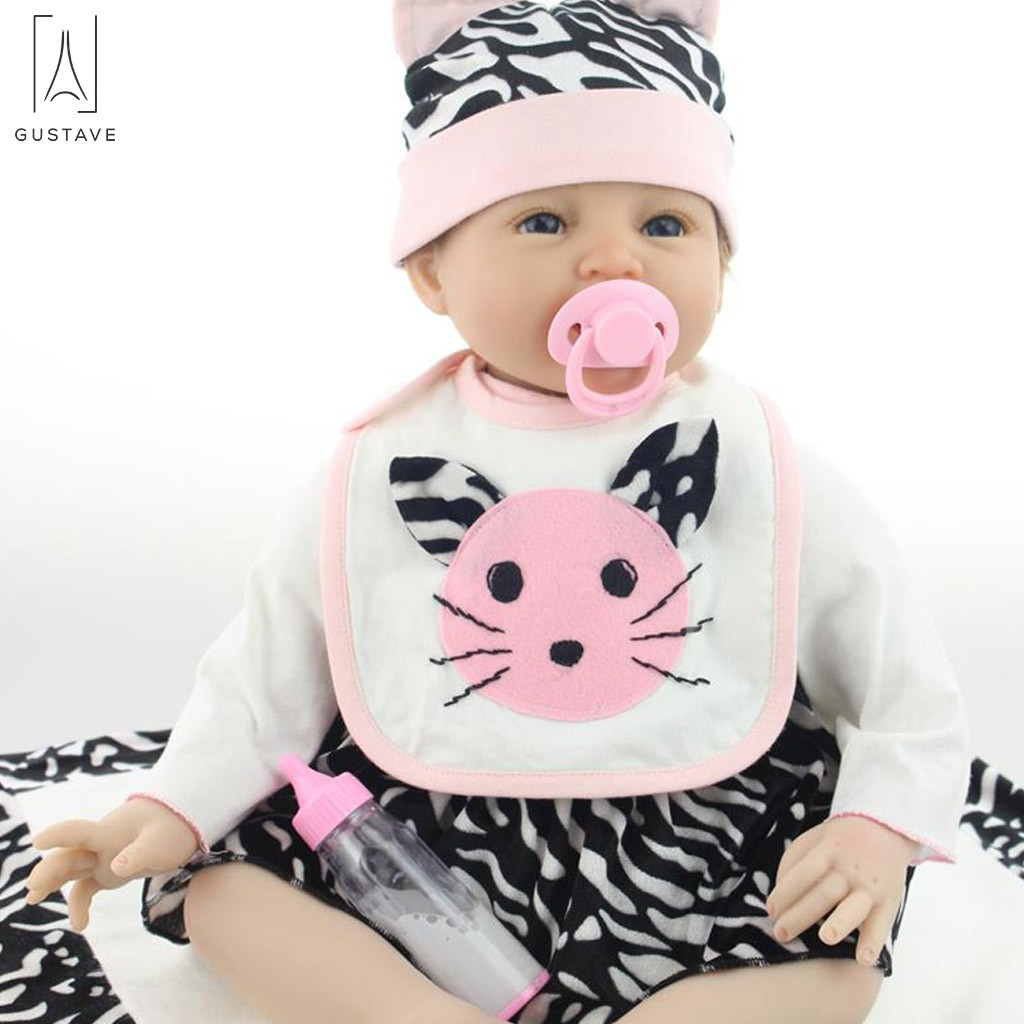 GustaveDesign Reborn Baby Doll Soft Silicone 22inch 55cm Magnetic Lovely Lifelike Cute Lovely Cat Bib Little Baby Boy Girl Toy