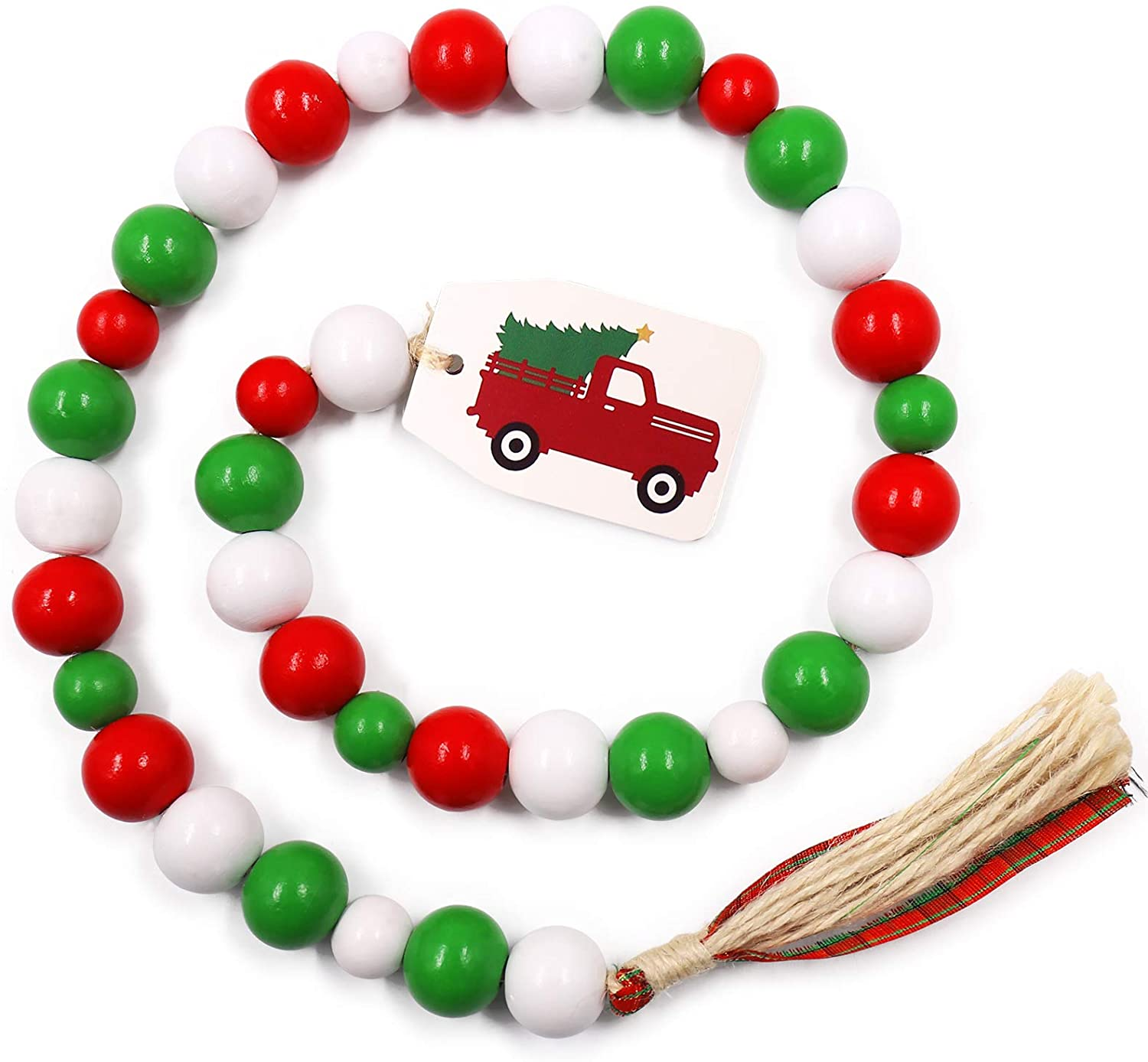 Christmas Wood Bead Garland With Rustic Tassels And Red Truck Tag Natural Beads Garland Xmas Tiered Tray Decorations Holiday Farmhouse Country Rae Dunn Decor Walmart Com Walmart Com