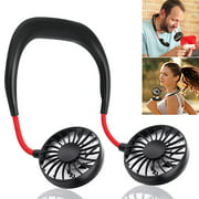 Portable Neck Fan USB Rechargeable, Hands Free Personal iköer Necklace Fan with Dual Wind Head for Office Sport Outdoor Traveling and More (Black)