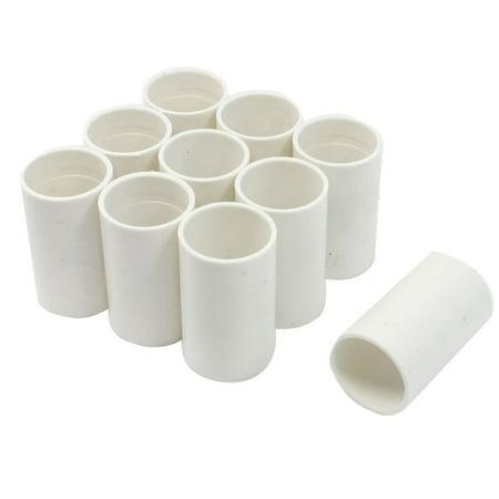 10pcs White PVC Tube Couplers Straight Pipe Connectors 20mm Diameter (Straight Coupler)