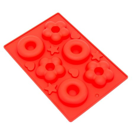 Mold Machine - THY COLLECTIBLES Soft Silicone Ice Cube Tray Ice Maker Mold Donuts Mold Cake Mold Chocolate Mold (Red)