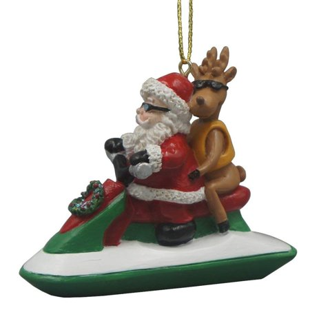 Santa Riding a Jet Ski with a Reindeer Hanging Ornament
