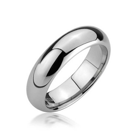 Round Dome Tungsten Comfort Fit For  Men For Womens Wedding Ring Band Polished Finish 5mm (Nerdy Couple Rings)
