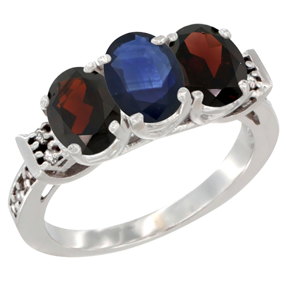 14K White Gold Natural Blue Sapphire & Garnet Sides Ring 3-Stone 7x5 mm Oval Diamond Accent, sizes 5 10 by WorldJewels
