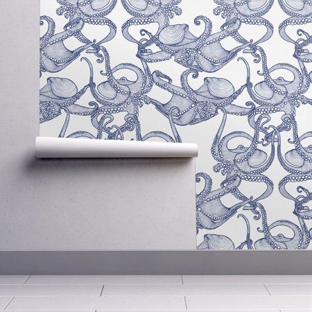 Removable Water Activated Wallpaper Cephalopod Blue White Octopi Octop
