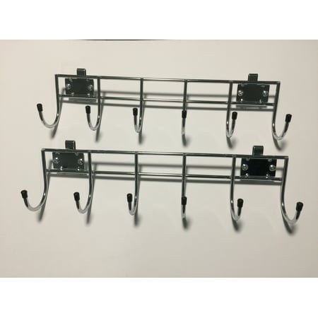 "HSS Wire Shelving 18"" wide side bar w/6 hooks, no collar, add-on, Chrome, 2-PACK"
