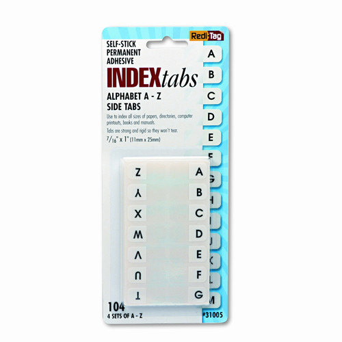 REDI-TAG CORPORATION                               Side-Mount Self-Stick Plastic A-Z Index Tabs, 1in, White, 104/pack