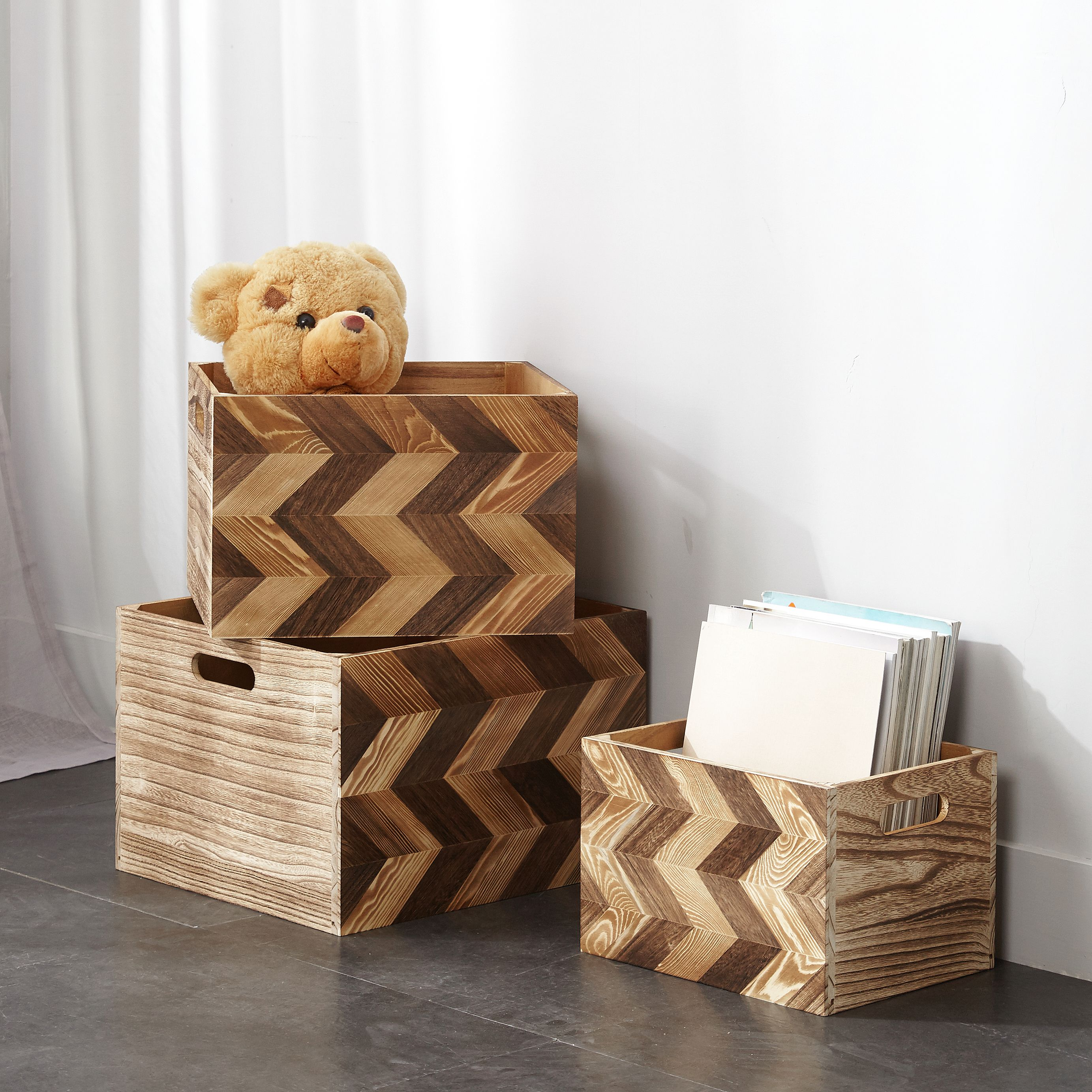 Chevron Wood Storage Crates, Set of 3