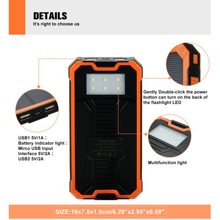 300000mAh Waterproof Solar Power Bank Dual USB Battery Phone Charger for Emergency Outdoor Camping Travel Portable   - image 6 of 12