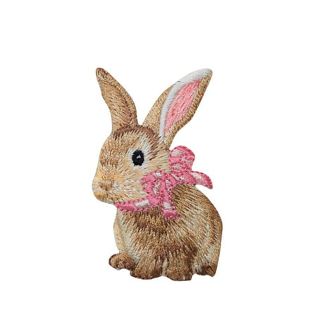Bunny Embellishment - Bunny Rabbit - Hare - Pink Bow - Iron on Applique/ Embroidered Patch