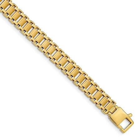 Brushed Mens Link Bracelet - 14k Yellow Gold Brushed Link Mens Bracelet