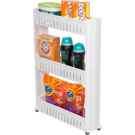 28u0022 Slim Slide Out Storage Tower for Laundry, Bathroom, or Kitchen By Trademark Innovations