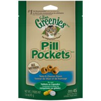 Greenies Feline Pill Pockets Natural Cat Treats, Tuna & Cheese Flavor, 1.6 oz. Pouch (45 Treats)