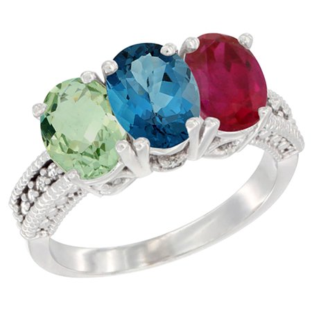 Natural Ruby Ring (14K White Gold Natural Green Amethyst, London Blue Topaz & Enhanced Ruby Ring 3-Stone 7x5 mm Oval Diamond Accent, sizes 5 - 10)