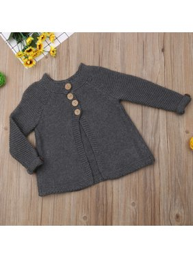 Toddler Kids Girls Fall Winter Clothes Button Knitted Sweater Cardigan Cloak Coat