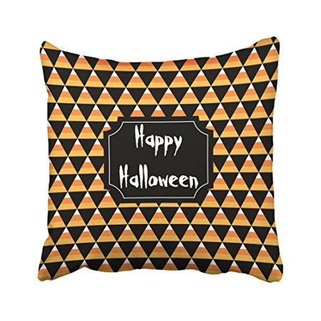 WinHome Girly Popular Candy Corn Print Pattern Happy Halloween Polyester 18 x 18 Inch Square Throw Pillow Covers With Hidden Zipper Home Sofa Cushion Decorative - Halloween Candy Popular