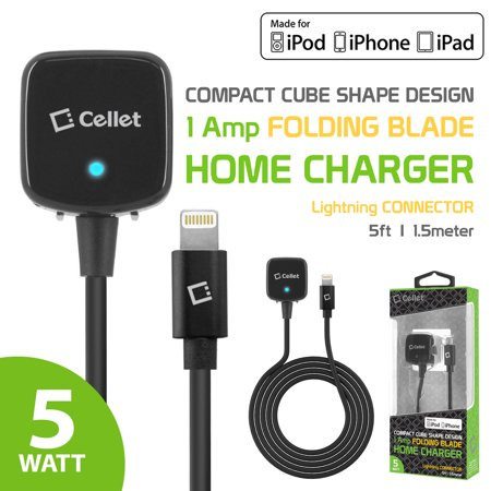 Apple Dices (Home Charger for Apple Devices iPhone Xs Max / Xr / Xs / X / 8/Plus, 7/Plus, 6/Plus / SE / 5 / 5s / 5c - Folding Blade - Apple MFI Certified Lightning Charger – by Cellet )