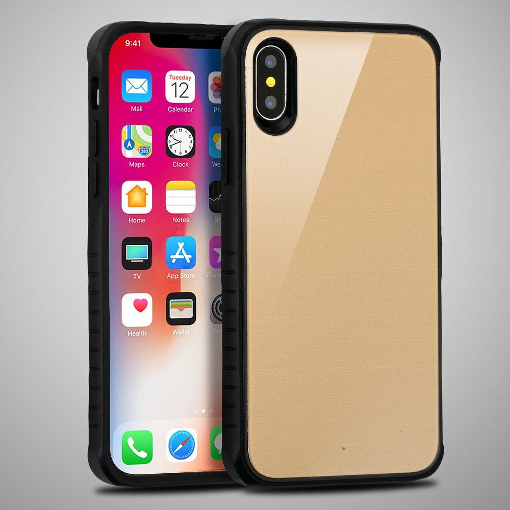 Apple iPhone X Case, by Insten Fusion Dual Layer [Shock Absorbing] Hybrid Hard Plastic/Soft TPU Rubber Case Cover For Apple iPhone X, Gold/Black (Combo with Glass Screen Protector) - image 3 of 3