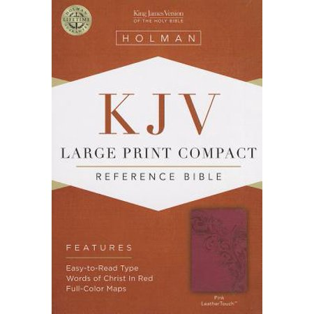 KJV Large Print Compact Reference Bible, Pink LeatherTouch Compact Reference Bible Kjv Snap