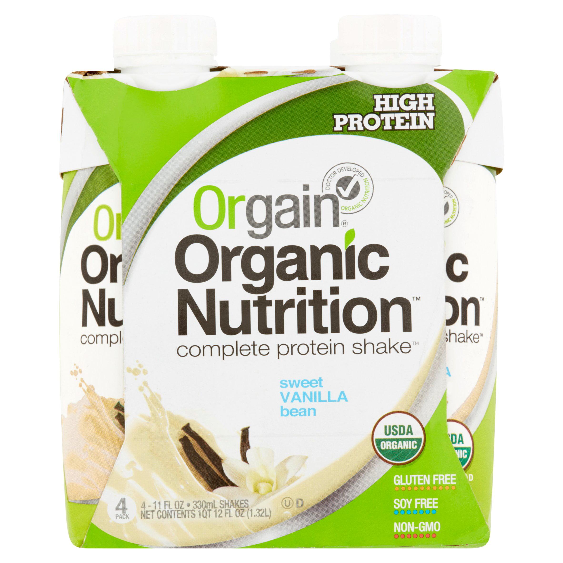 Orgain Organic Shake, 16 Grams of Protein, Vanilla Bean, 11 Oz, 4 Ct