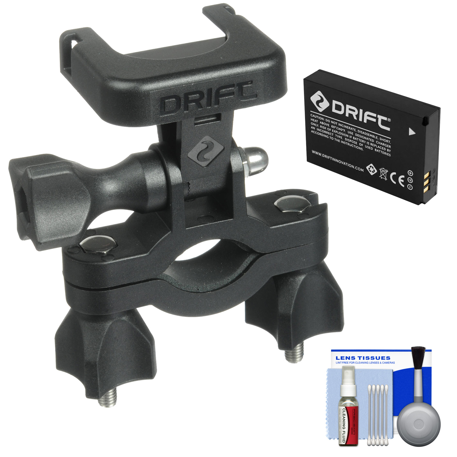Drift Innovation Handlebar Mount with Battery + Cleaning Kit for Drift HD, HD 170, Ghost, Ghost-S Action Camcorders