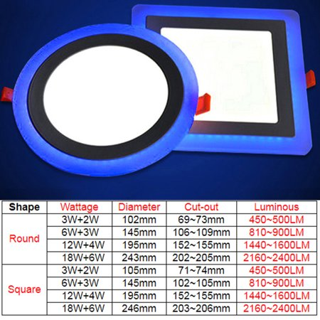 Dual Color Acrylic LED Recessed Ceiling Panel Down Lights Ultra Slim Lamp for Indoor Office Restaurant - image 1 de 8