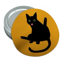 Black Cat Lifting Leg and Licking Round Rubber Non-Slip Jar Gripper Lid Opener