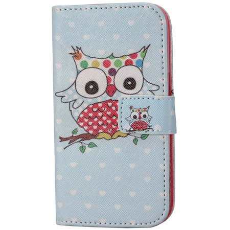 Galaxy Core Prime Sm G360 Case Aiyze Pu Leather Color Print Wallet Function Stand Credit Card Holder Magnetic Snap Front And Back Folio Cover For Samsung Prevail Lte With Stylus Blue Bottom Love Owl