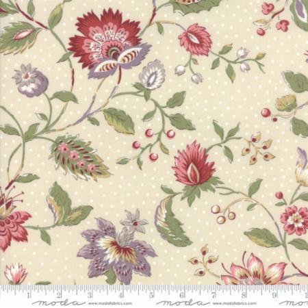 Jardin de Versailles Floral  Olivier Natural Cotton Fabric by (De Cottons)
