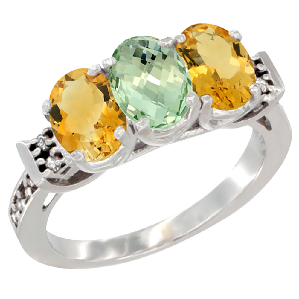 10K White Gold Natural Green Amethyst & Citrine Sides Ring 3-Stone Oval 7x5 mm Diamond Accent, sizes 5 10 by WorldJewels