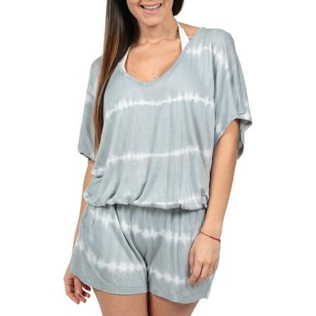 Ingear Tie Dye Romper Summer Fashion Beachwear Jumpsuit Blouson Cover