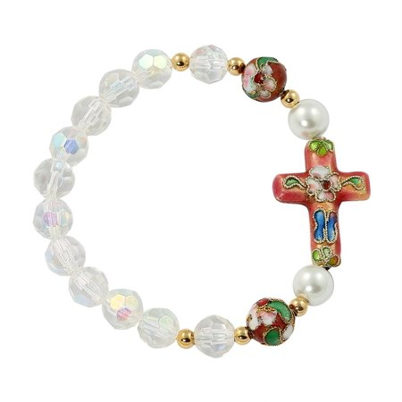 Crystal Enamel Cloisonne - Large Catholic & Religious Bracelet with Cross and Clear AB Glass Crystals Beads, Pink Cloisonne