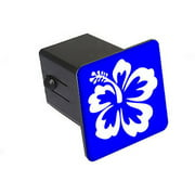 """Hibiscus Flower - White On Blue 2"""" Tow Trailer Hitch Cover Plug Insert"""