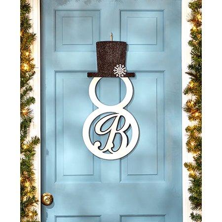 snowman monogram door hanger wall art holiday christmas winter decor letter b