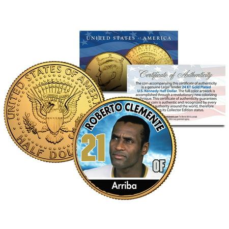 ROBERTO CLEMENTE * Baseball Legends * JFK Half Dollar 24K Gold Plated U.S.