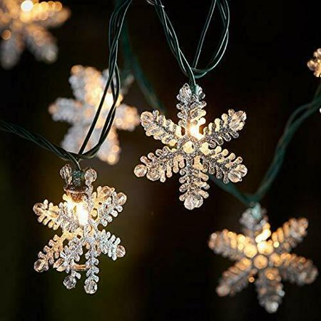 10ct Snowflake Glitter Silver String Lights Christmas Tree Lights Indoor/Outdoor ()