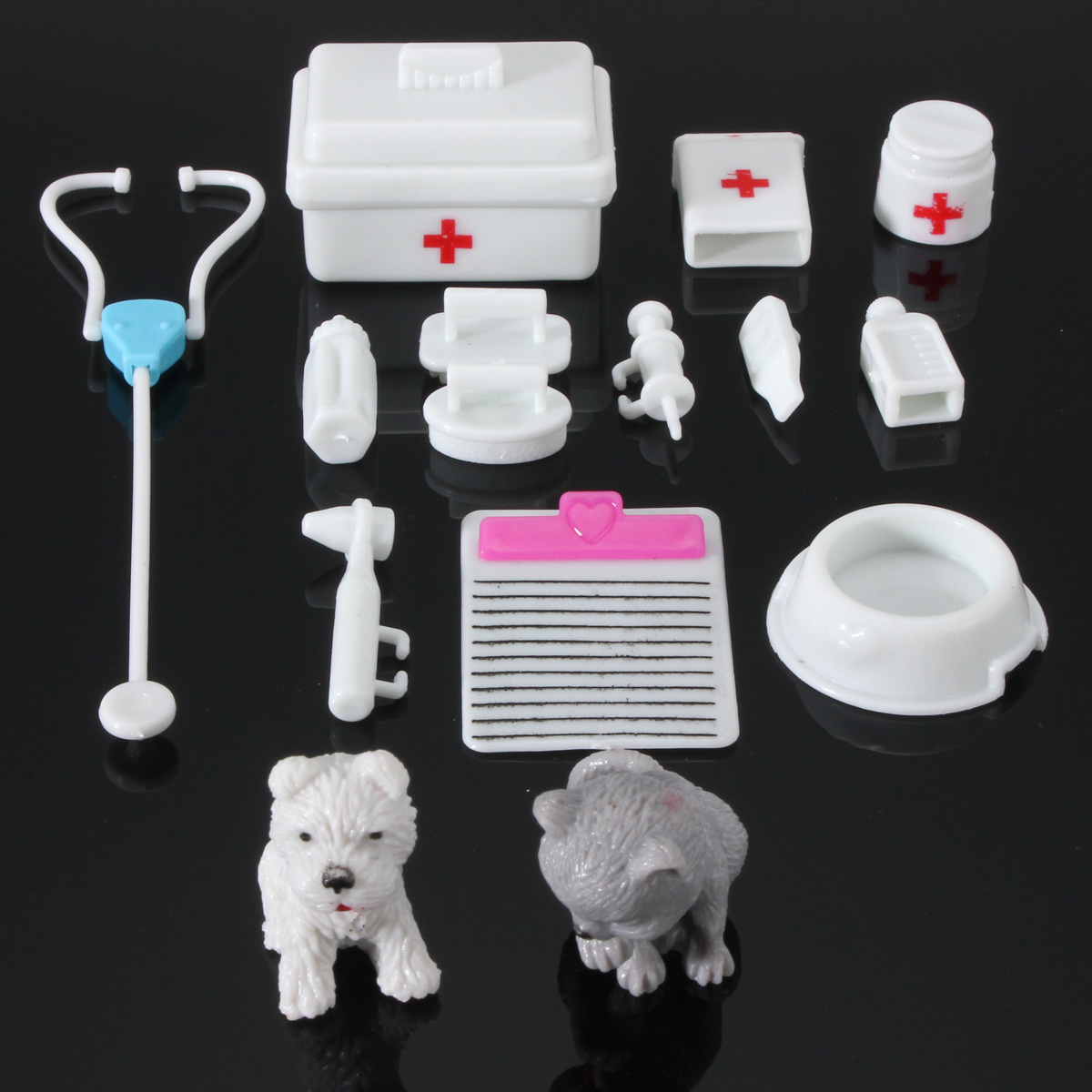 14Pcs Mini Medical Equipment Toys Kids Doctor Kit For Barbie Fashion Doll Accessories Set Gift New