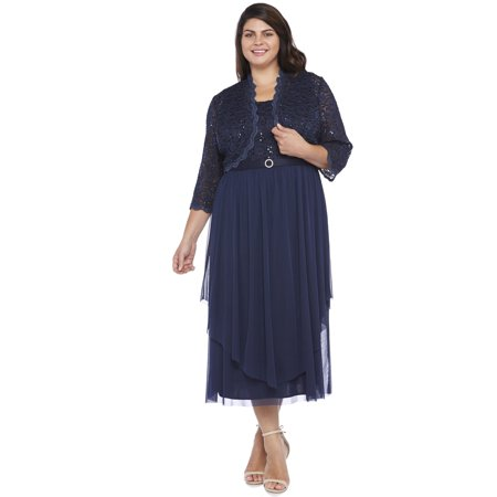 7bf81ef553d R M Richards - R M Richards Plus Size Lace Chiffon Jacket Dress 18W-Navy -  Walmart.com