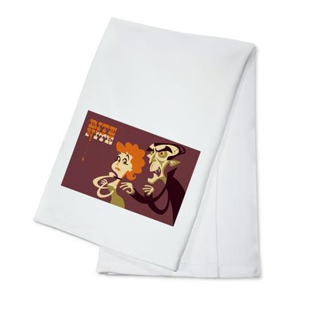 Dracula Bite Nite - Retro Halloween - Lantern Press Artwork (100% Cotton Kitchen Towel) - Teia Halloween