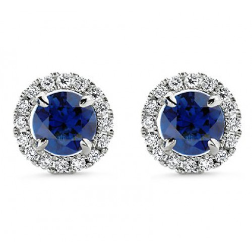 3.55 ct Sapphire With Diamond Accented Stud Earrings