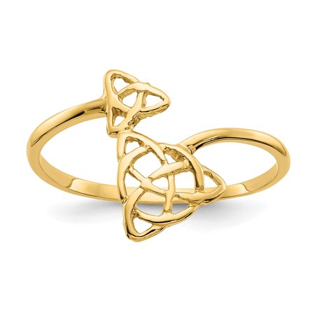 14k Yellow Gold Irish Claddagh Celtic Knot Band Ring Size 7.00 Fine Jewelry For Women Gift Set