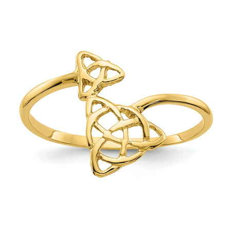 14k Yellow Gold Celtic Ring (14k Yellow Gold Irish Claddagh Celtic Knot Band Ring Size 7.00 Fine Jewelry For Women Gift)