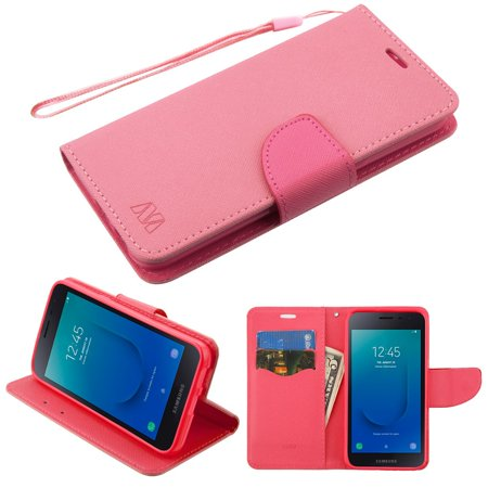 Diary Leather Wallet Stand Case for Samsung Galaxy J2 / J2 Pure - Pink (Leather Protector Purse)