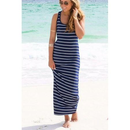 09de788abbc05 Women Summer Dress Striped Boho Long Maxi, Cotton Plain Sleeveless Beach  Tank Scoop Neck Vest, Casual Slim Dresses For Sexy Ladies