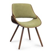 Brooklyn + Max Halston Mid Century Modern Bentwood Dining Chair with Wood Back in Acid Green Woven Fabric