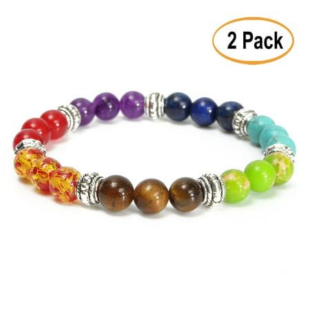 2Pcs 8mm Unisex Healing Yoga Chakra 7 Stone Buddha Buddhist Prayer Amethyst Crystal Bead - Prayer Box Bracelet