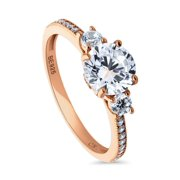 Rose Gold Plated Sterling Silver Cubic Zirconia CZ 3-Stone Promise Engagement Ring Size 3.5